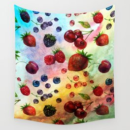 Summer fruits - Fresh strawberry berry pastel pattern Wall Tapestry