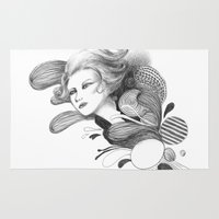 beethoven Area & Throw Rugs featuring Beethoven by Wendy Ding: Illustration
