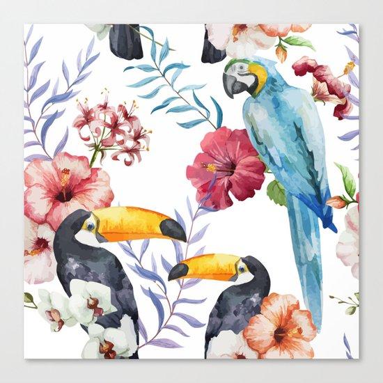 Tropical Bird Pattern 01 Canvas Print