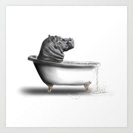 Hippo in Bath Art Print