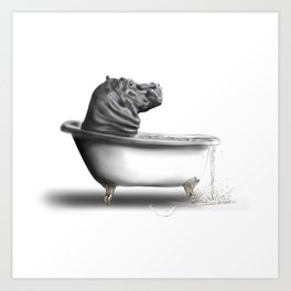 Hippo in Bath Art Print