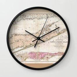 1842 Map of Long Island, New York Wall Clock