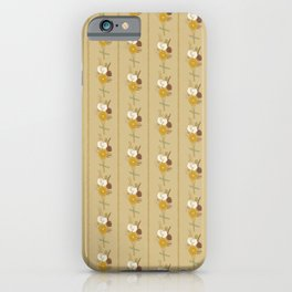 Straw Flowers and Stripes - Mustard iPhone Case