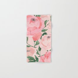 Watercolor Peonies with Blush Background Hand & Bath Towel