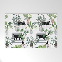 cats in the interior pattern Welcome Mat
