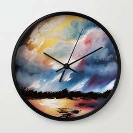 Moody Sunset, Dark Sunset, Abstract Sunset, Seascape, Sunscape, Skyscape Wall Clock