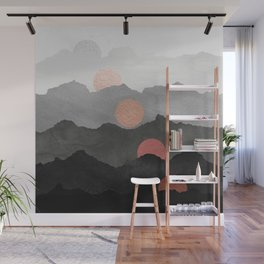 Mountains and the Moon - Black - Silver - Copper - Gold - Rose Gold Wall Mural