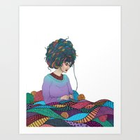 knitting Art Prints featuring Knitting by Fernanda Maya