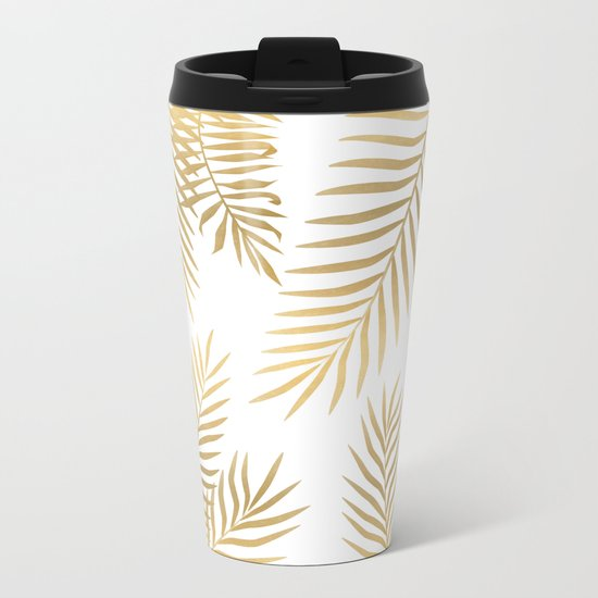 Gold palm leaves Metal Travel Mug