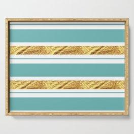 Gold and Aqua Blue Stripes Serving Tray