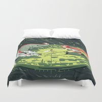 wallet Duvet Covers featuring Duel by Freeminds