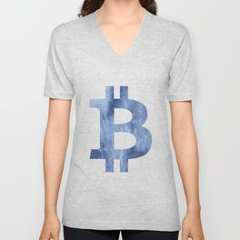 Bitcoin Blue clouds watercolor pattern Unisex V-Neck