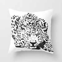 leopard Throw Pillows featuring Leopard  by Karen Hischak