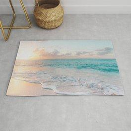 Beautiful tropical turquoise sandy beach photo Rug