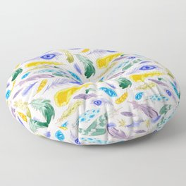 Jewel Tone Feathers Floor Pillow
