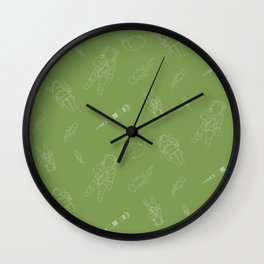 Astronauts Space Men Rocket Ship Line Art - Green Wall Clock