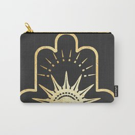 gold foil hamsa hand with blush pink Carry-All Pouch
