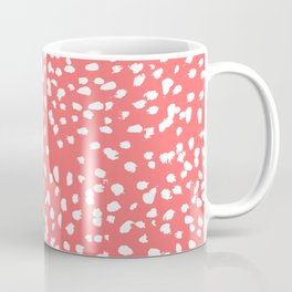 Claudia - abstract minimal coral dot polka dots painterly brushstrokes Coffee Mug