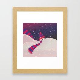 Christmas Peekaboo Snowman II - Blue Violet Snowy Background Framed Art Print