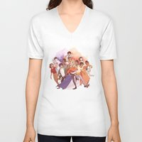 les miserables V-neck T-shirts featuring Les Miserables: Un Groupe Qui a Failli Devenir Historique by batcii