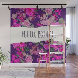 Hello Beautiful, Vintage Floral with Hot Pink on Aubergine Purple Wall Mural