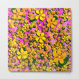 Orange & Yellow Flowers on Pink Background Metal Print