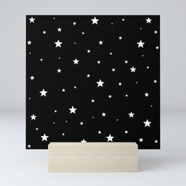 Scattered Stars - white on black Mini Art Print