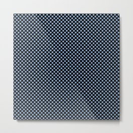 Black and Placid Blue Polka Dots Metal Print