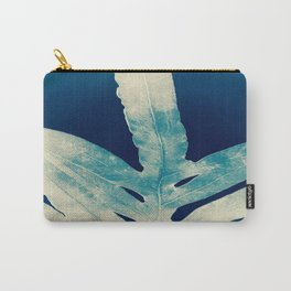 Green Fern at Midnight Bright, Navy Blue Carry-All Pouch