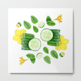 Cucumber and Mint Metal Print