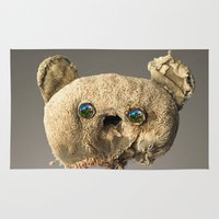 hologram Area & Throw Rugs featuring Sad Mentalembellisher Poet Teddy Bear With Hologram Eyes by mentalembellisher