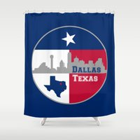 dallas Shower Curtains featuring Dallas Texas Skyline by LonestarDesigns2020 is Modern Home Decor