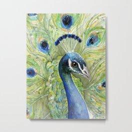 Peacock Watercolor Painting   Exotic Birds Metal Print