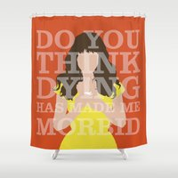 chuck Shower Curtains featuring Pushing Daisies - Chuck by MacGuffin Designs