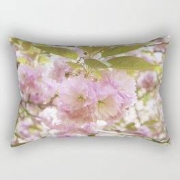 double cherry blossoms with soft hues of pink petals Rectangular Pillow