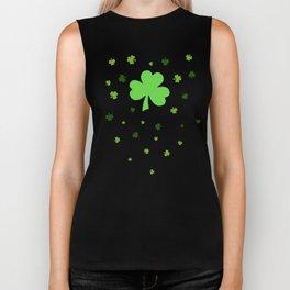 Happy St. Patrick's Day Shamrock Pattern on light green Biker Tank