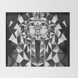 Black and White Tutankhamun - Pharaoh's Mask Throw Blanket