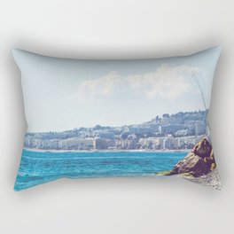 Fishing rods at a beach in spring Rectangular Pillow