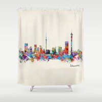 south africa Shower Curtains featuring Johannesburg South Africa skyline by bri.b