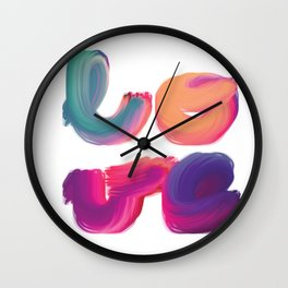 l-o-v-e brightly coloured painted lettering Wall Clock