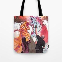 DUELING TIGERS Tote Bag