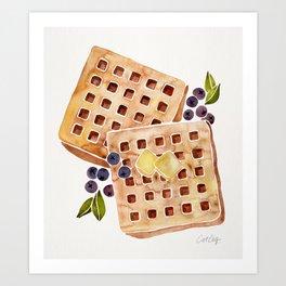 Blueberry Breakfast Waffles Art Print