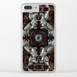 Blue and Copper Metallic Pattern Clear iPhone Case