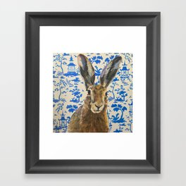 Blue Willow Hare Framed Art Print