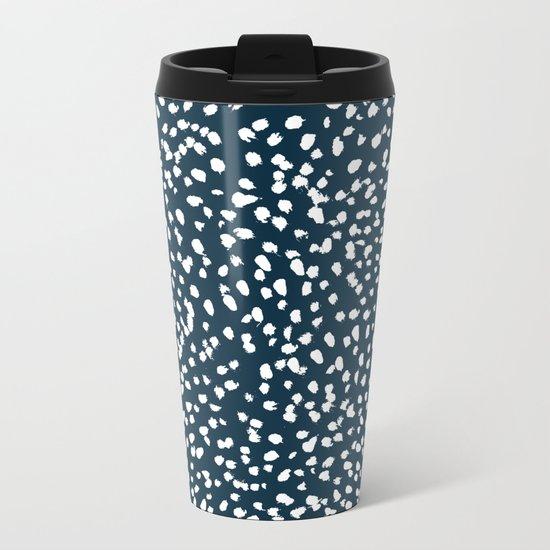 Navy Dots abstract minimal print design pattern brushstrokes painterly painting love boho urban chic Metal Travel Mug