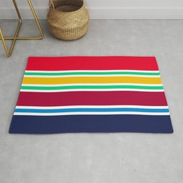 PreppyPatterns™ - Nautical Multi-stripe - cherry red, emerald green, gold, ruby, azure blue, navy Rug
