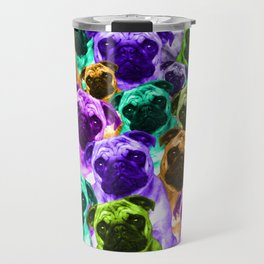 Colorful  Pug Pattern Travel Mug