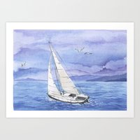 Italian summer. June. Barca a vela Art Print