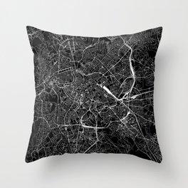 Rome Black Map Throw Pillow