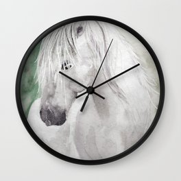 Cathy's white horse Wall Clock